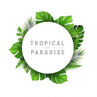 Ilustración tropical y paraíso con lugar para el texto. diseño de marco exótico con hojas