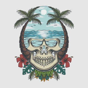 Ilustración tropical de la playa del cráneo