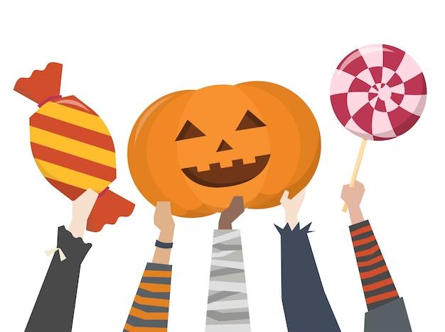 Ilustración del truco o trato de halloween