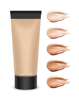 Ilustración de tubo de plástico cosmético con crema de tono