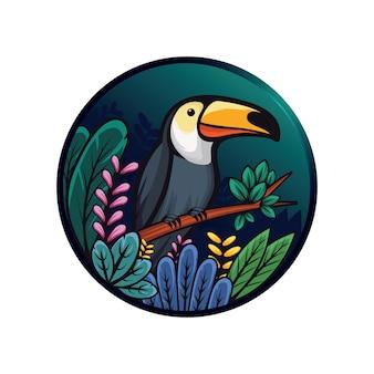 Ilustración de tucán y hojas