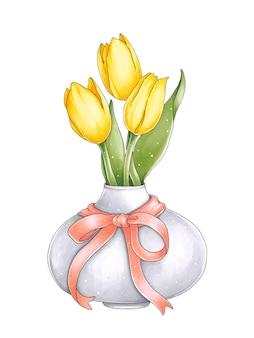 Ilustración con tulipanes frescos en un jarrón con un lazo