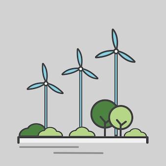Ilustración de una turbina de viento de generación de energía