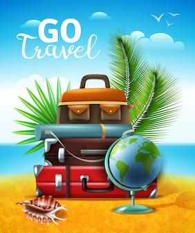 Ilustración de turismo tropical itinerante