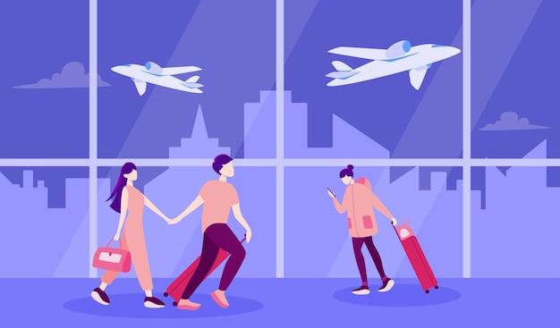 Ilustración de turista con equipaje y bolso. viaje familiar, empresario con maleta. colección de personajes en su viaje, vacaciones familiares o viaje de negocios