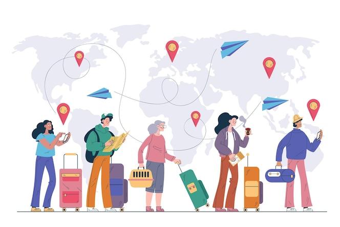 Ilustración de turistas planos