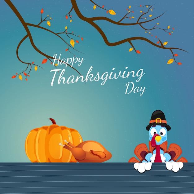 Ilustración de turquía con sombrero de peregrino con calabaza, pollo y ramas de otoño en azul para la celebración del día de acción de gracias feliz.