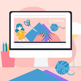 Ilustración de tutorial en línea de diseño plano