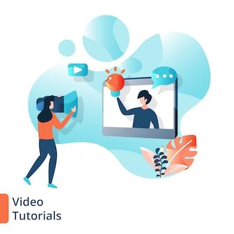Ilustración de tutoriales en video de la página de destino, educación en línea,