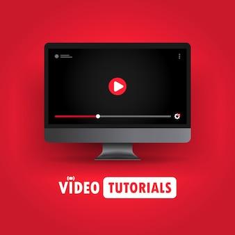 Ilustración de tutoriales en video. ver seminarios web, transmitir videos en línea en la computadora. vector sobre fondo aislado. eps 10.