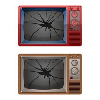 Ilustración de tv roto aislado en blanco