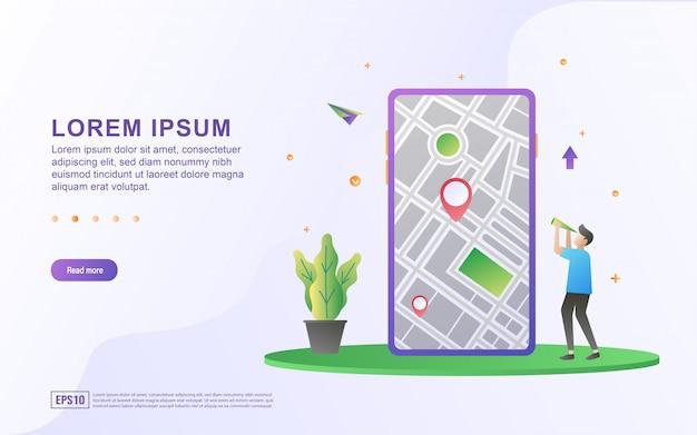 Ilustración de la ubicación del mapa y las direcciones con el teléfono inteligente y el icono del mapa.