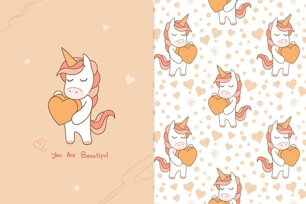Ilustración unicornio eres hermosa de patrones sin fisuras