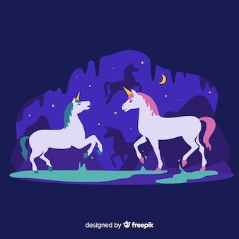 Ilustración de unicornio en estilo plano