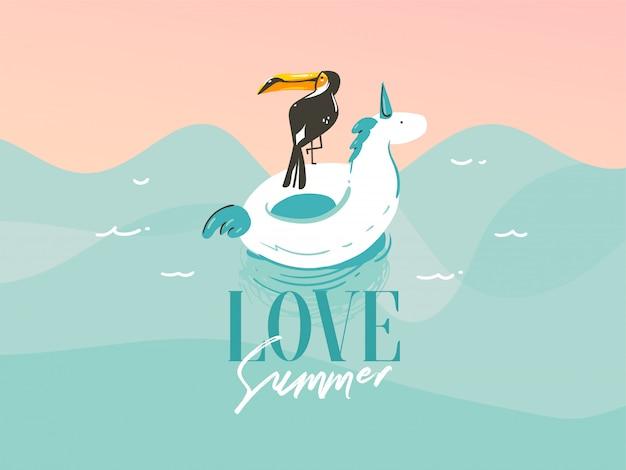 Ilustración con un unicornio nadando, anillos de flotador de goma en el paisaje de las olas del océano y una cita de tipografía love summer