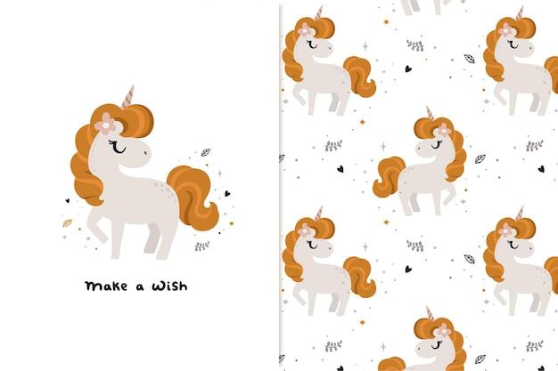Ilustración de unicornio y patrón con colores de bebé.