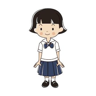 Ilustración uniforme de estudiante tailandés.