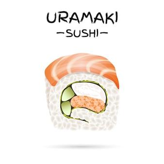 Ilustración de uramaki sushi roll