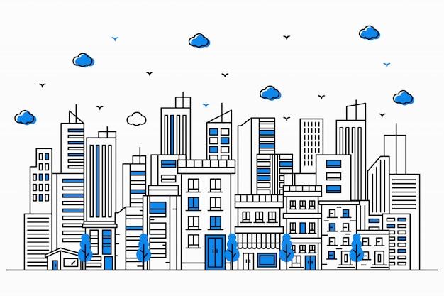 Ilustración urbana con edificios altos al estilo de líneas finas