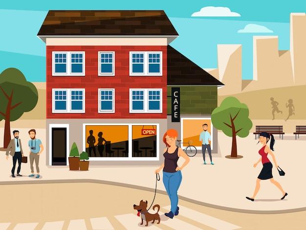 Ilustración urbana con gente caminando en la calle.
