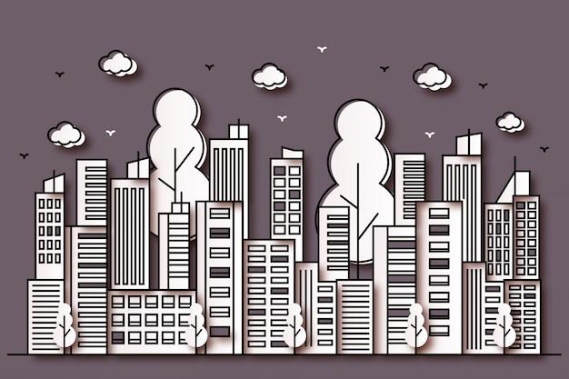 Ilustración urbana con un hermoso estilo de papel