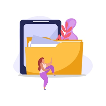 Ilustración de usuario de computadora plana colorida con carpeta de tableta y personaje femenino