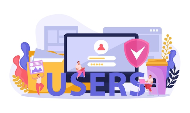 Ilustración de usuarios de computadora
