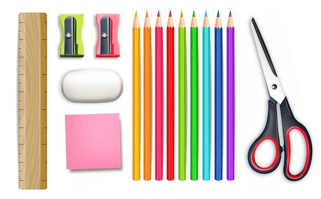 Ilustración de útiles escolares