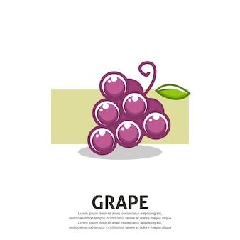 Ilustración de uva en diseño plano
