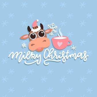 Ilustración de vaca de dibujos animados lindo de navidad con cita de letras dibujadas a mano. tarjeta de animal para impresión de ropa infantil y póster de felicitación. año nuevo 2021. tarjeta de felicitación de caligrafía de navidad lechosa.