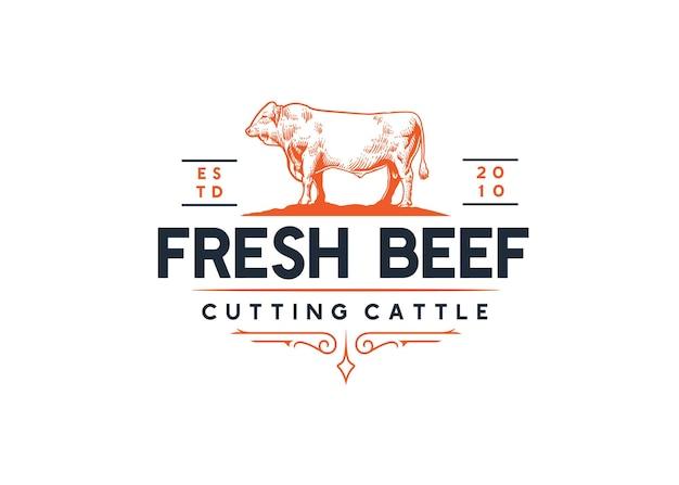 Ilustración de vaca con logotipo de tienda de carne fresca