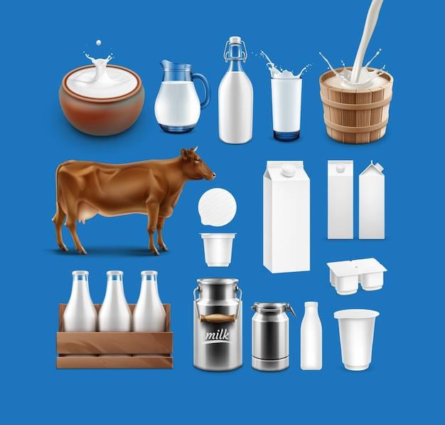 Ilustración de vaca, salpicaduras de productos lácteos y un conjunto de productos lácteos en varios recipientes aislados sobre fondo azul