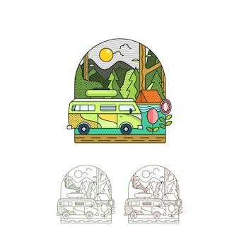 Ilustración de vacaciones en campamento de verano