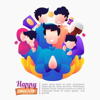 Ilustración de las vacaciones de eid al-fitr con una familia feliz.