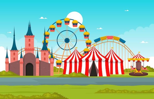 Ilustración de vacaciones felices del parque de atracciones de la noria del castillo