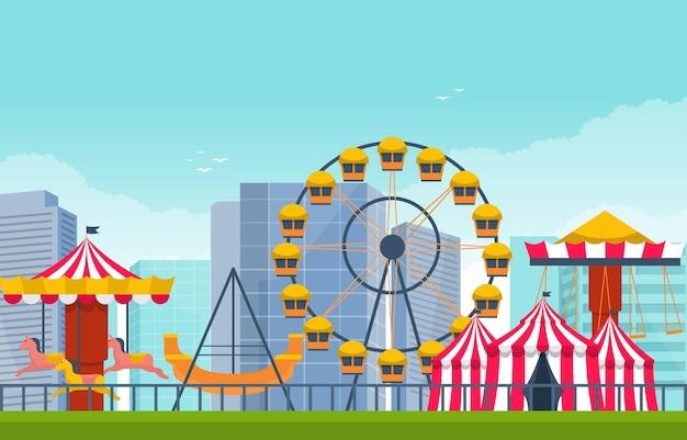 Ilustración de vacaciones felices del parque de atracciones de la noria del circo