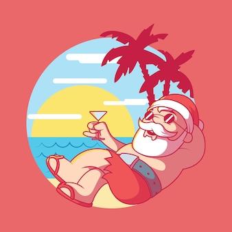 Ilustración de vacaciones en la playa de santa claus concepto de diseño de celebración de vacaciones de navidad