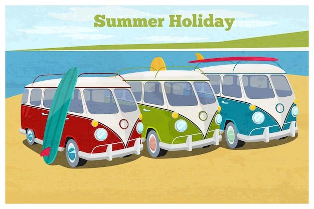 Ilustración de vacaciones de verano con autocaravana. transporte y vacaciones, bus retro.