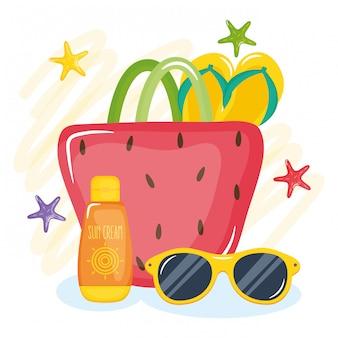 Ilustración de vacaciones de verano con bolso de mano y elementos
