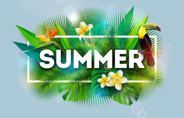 Ilustración de vacaciones de verano con flor y pájaro tucán