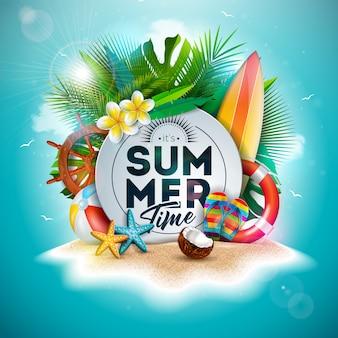 Ilustración de vacaciones de verano con flores y hojas de palmeras tropicales