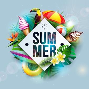 Ilustración de vacaciones de verano con pájaro tucán y helado