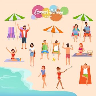 Ilustración de vacaciones de verano en la playa