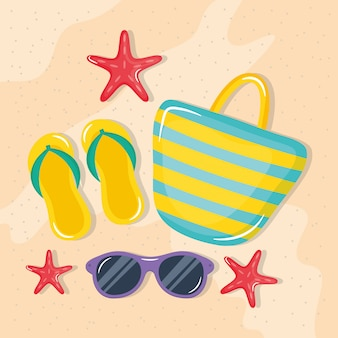 Ilustración de vacaciones de verano con sandalias y elementos