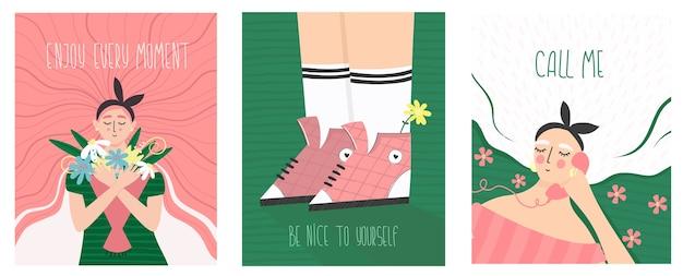 Ilustración de vacaciones vintage con cita de texto. chicas, flores y letras de texto romántico. tarjeta inspiradora de celebración.
