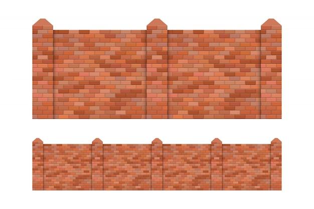 Ilustración de valla de ladrillo aislado sobre fondo blanco.