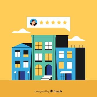 Ilustración de valoración de hotel en diseño plano