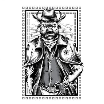 Ilustración de vaquero guerrero blanco y negro