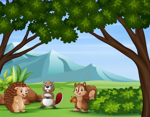 Ilustración de varios animales en el bosque