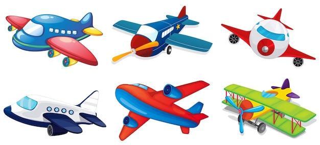 Ilustración de varios aviones en blanco